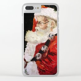 Santa With Jingle Bells Clear iPhone Case
