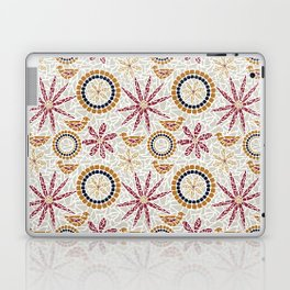 Birds and Flowers Mosaic - Grey, Rust and Red Laptop & iPad Skin