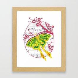 Luna  (Luna moth with flowers on sheet music) Framed Art Print