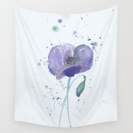 Blue Poppy flower illustration painting in watercolor Wall Tapestry