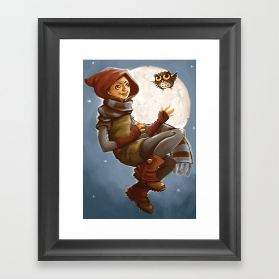 Owl Girl Framed Art Print