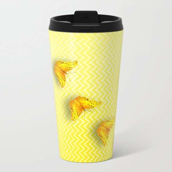 Butterflies on buttercup yellow chevron pattern Metal Travel Mug