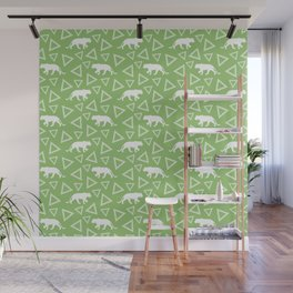 Wild African walking lioness silhouettes and abstract triangle shapes. Stylish classy bright olive green seamless retro vintage geometric animal nature pattern. Wall Mural