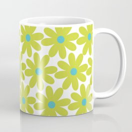 Cheerful Springtime Flowers Floral Pattern in Lime Green and Turquoise on White Coffee Mug