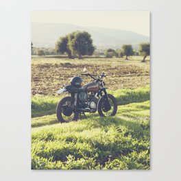 Moto guzzi, café racer, photo in south italy, man cave. Scrambler, fine art, motorcycle, motorbike Canvas Print