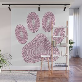 Abstract Pink Ink Dog Paw Print Wall Mural