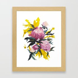 pivoine violette avec jaune Framed Art Print