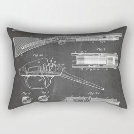 Automatic Rifle Patent - Browning Rifle Art - Black Chalkboard Rectangular Pillow