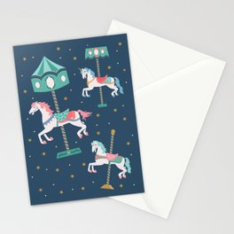Carousel Horses in Blue Stationery Cards
