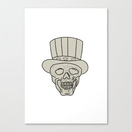 Uncle Sam Top Hat Skull Drawing Canvas Print