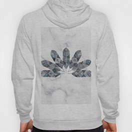 Bohemian Chic White Marble Grey Tribal Feather Hoody