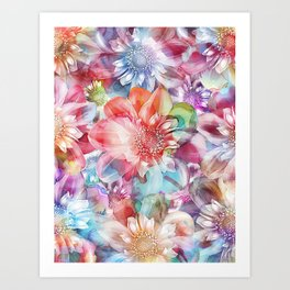 Spring Flowers on Painted Background Art Print