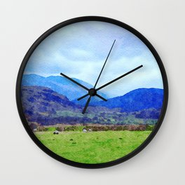 Sheep in Pasture View from Castlerigg Stone Circle, Lake District UK Watercolor Wall Clock