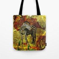 zebra Tote Bags featuring Zebra by Saundra Myles