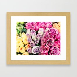 pink purple and yellow roses painting background Framed Art Print