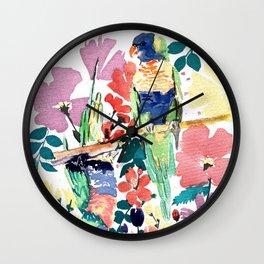 Blooming Lorikeets Wall Clock