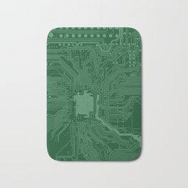 Green Geek Motherboard Circuit Pattern Bath Mat
