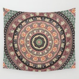 Cat Yoga Medallion Wall Tapestry