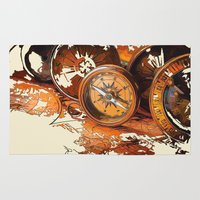 compass Area & Throw Rugs featuring Vintage Compass by Robin Curtiss