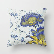 floral chinoiserie in blue and gold Throw Pillow
