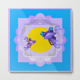 Whimsy Tree Frog Lavender, Gold & Blue Boho Mandala Metal Print