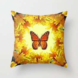 Monarch Butterfly Creany Yellow Sunflower Circle Throw Pillow