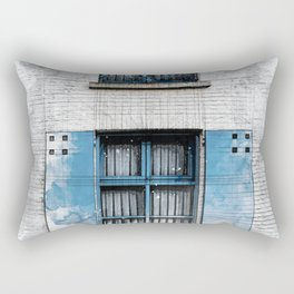 Architect Drawing of Blue Wooden Windows Rectangular Pillow