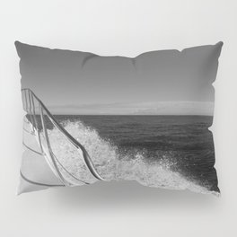 Sailing in the wind through the waves, Boat, Black and White photography #Society6 Pillow Sham