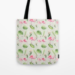 Watercolour Tropical Flowers Leaves and Flamingos Tote Bag
