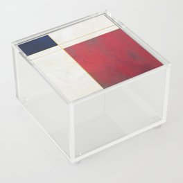 Blue, Red And White With Golden Lines Abstract Painting Acrylic Box