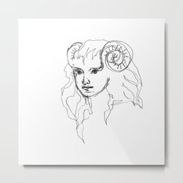 Girl with Side Buns Metal Print