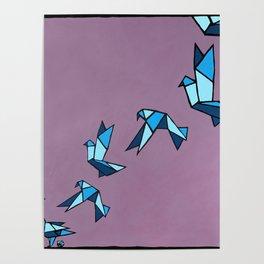 Origami Paper Birds Poster