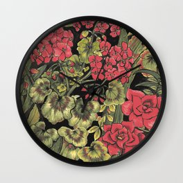 Foliage and Flowers a Riot of Colour Wall Clock