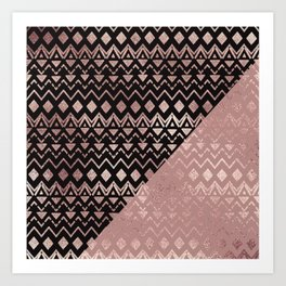 Rose Gold Hand Drawn Tribal Aztec Geometric Art Print