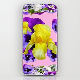 PINK COLOR PURPLE & WHITE PANSIES YELLOW IRIS iPhone Skin