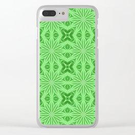 Green Flower Cross Pattern Clear iPhone Case
