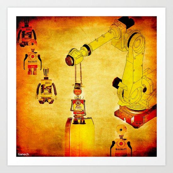 Oiling of robots Art Print