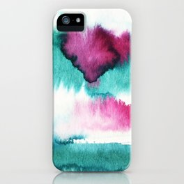 Watercolor ink effect, color flow , brush stroke, Abstract watercolor painting Pattern iPhone Case