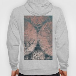 Vintage World Map Rose Gold and Storm Gray Navy Hoody