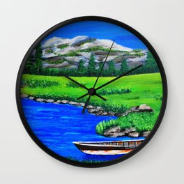 River bank with little old boat Wall Clock