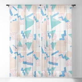 90's Pastel Geometric Pattern Sheer Curtain