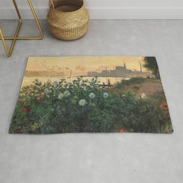 Flowered Riverbank, Argenteuil, Claude Monet Rug