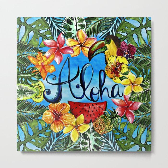 Aloha - Tropical Flower Food and Animal Summer Design on #Society6 Metal Print