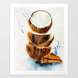 Watercolor cracked coconut Art Print