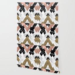 Modern geometric chevron black white marble rose gold foil gold triangles pattern Wallpaper