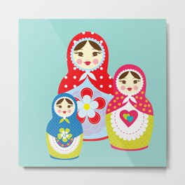 Turquoise babushka , matryoshka , russian doll , nursery decor , children gift, birthday gift Metal Print