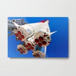 Vintage Spacecraft Against The Background Of Blue Sky Metal Print