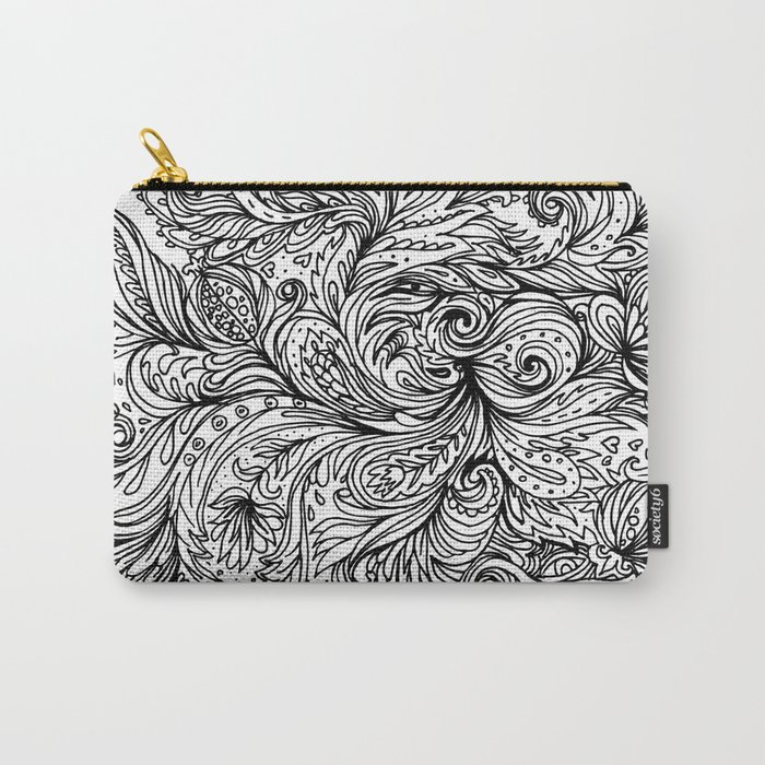 B&W Floral Indian Pattern Carry-All Pouch