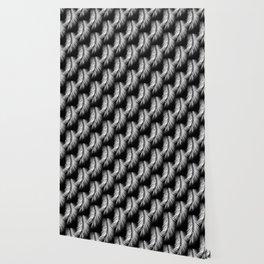 White Palm Leaves on Black Background #decor #society6 #buyart Wallpaper