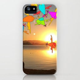 Sunset birds iPhone Case